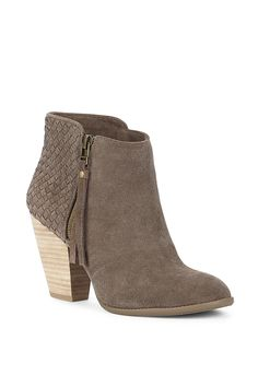 Brown suede bootie with gorgeous woven details along the back