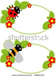 tag with a bee, ladybug and flowers