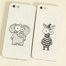 Cell phone case Cute Elephant and Zebra PC Plastic Hard Skin Cover Case cartoon style For iPhone 4S 5 5S 5G 5C(China (Mainland))