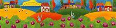 Les rosiers de Kamouraska par Isabelle Malo • Acrylique sur toile • Folk art  • www.isamalo.com • Artiste peintre du Québec •Art naïf