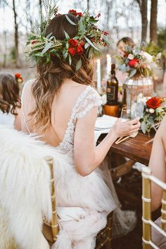 Off-Season Savings for the Winter Bride - Winter Bridesmaid Party from Junebug Weddings feat Caitlyn by Maggie Sottero Flower Crown Wedding, Bridal Crown, Flower Crowns, Red Flower Crown, December Wedding Colors, Christmas Wedding Flowers, Winter Bridesmaids, Winter Bridal Showers, Winter Wedding Inspiration