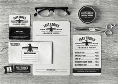 #houseofbranding | Richard Arthur Stewart for Fast Eddie's Barber Shop. We adore this branding system, but we are even more in love with the type!