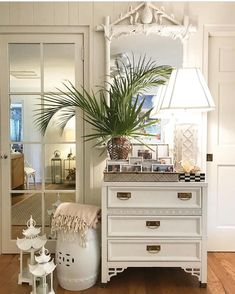A vignette featuring a Fretwork Dresser and Gampel Stoll Faux Bamboo Pineapple Mirror from PBR. We love seeing where our goodies end up! Decor, Palm Beach Regency, Cottage Style, Beach Decor, Interior, Faux Bamboo, Home Decor, Palm Beach Decor, Furniture