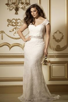 Watters plus size cap sleeve wedding dress