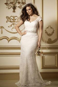 Watters plus size cap sleeve wedding dress
