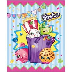 2 Birthday Party Supplies Paper 16 Ct Shopkins Let's Party Beverage Napkins