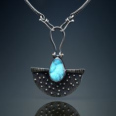 Druzy Chrysocolla Centerpiece.  Fabricated Sterling Silver and 14k Gold.  www.amybuettner.com https://www.facebook.com/pages/Metalsmiths-Amy-Buettner-Tucker-Glasow/101876779907812?ref=hl https://www.etsy.com/people/amybuettner http://instagram.com/amybuettnertuckerglasow