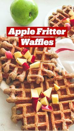 Powdered Sugar Glaze, Fall Breakfast, Breakfast Ideas, Apple Fritters, Fresh Apples, Waffle Iron, Cinnamon Apples, Waffles, Baking
