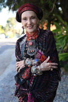 ADVANCED STYLE - Never Do When You Can Overdo. Barbara Chapman in Solano Beach, Ca