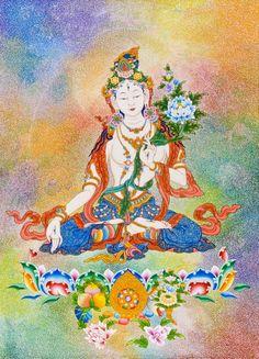 110005WhiteTara Chinese Buddhism, Tibetan Buddhism, Buddhist Art, Tibetan Symbols, Buddhism Symbols, Tibet Art, Buddhist Practices, Thangka Painting, Dragon Art