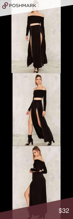Nasty Gal Snap To It Slit Skirt Brand new. Never worn. Fit me too long so I'm Poshing 😊 Nasty Gal Skirts Maxi