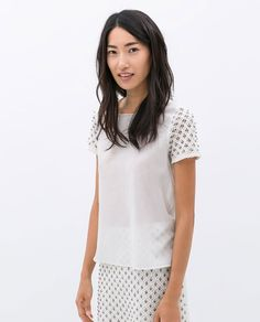 COMBINED GUIPURE LACE TOP from Zara