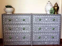 DIY Indian Bone Inlay Drawers using Cutting Edge Stencils and Ikea Rast drawers Stencil Dresser, Stencil Decor, Stencils, Ikea Hacks, Ikea Dresser Makeover, Dresser Ideas, Furniture Update, Ikea Malm, Painted Furniture