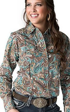 Sherry Cervi™️ by RU Cowgirl®️️ Women's Turquoise & Brown Paisley L/S Western Shirt   Cavender's