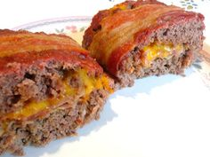 DOUBLE BACON CHEDDAR  MEAT LOAF Double Bacon Cheddar Meat Loaf…what could be better than this meaty, cheesy meat loaf? The center of the meat loaf  has precooked round Canadian bacon and thick pieces
