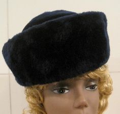 Vintage Navy Blue Hat an Atelier Lucas Original by MISSVINTAGE5000
