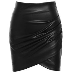 'Ignite' Black Draped Vegan Leather Mini Skirt - Mistress Rocks ($65) ❤ liked on Polyvore featuring skirts, mini skirts, fake leather skirt, vegan leather mini skirt, full length skirt and short skirts