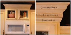 Mouldings can take furniture, cabinets, walls, etc. from boring & plain to being custom & beautiful...TUTORIAL ON A KITCHEN CABINET MAKEOVER