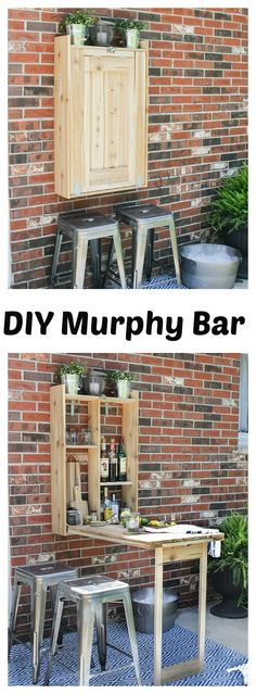 This awesome DIY Fold-Down Outdoor Murphy Bar is perfect for spaces big and small. You can make it from just a few pieces of scrap wood and a few supplies.