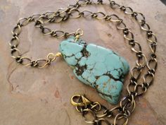Freeform Turquoise Chunky Necklace on Antiqued Brass Chain. $18.00, via Etsy.