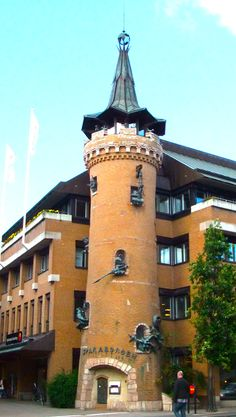 this mad tower with knights and a dragon is the local Bank in Skara, rural Sweden!!