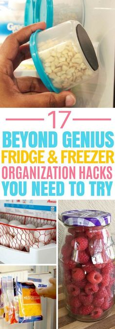 Fridge and Freezer Hacks That'll Organize Your Kitchen These 17 Fridge and Freezer Organization Hacks Are AMAZING! My fridge gets so messy, this will definitely help! Freezer Organization, Refrigerator Organization, Kitchen Organization, Organization Ideas, Storage Ideas, Organize Fridge, Fridge Storage, Organized Kitchen, Wine Bottle Crafts