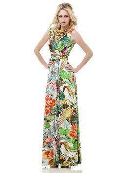 vestido longo de malha estampa tropical