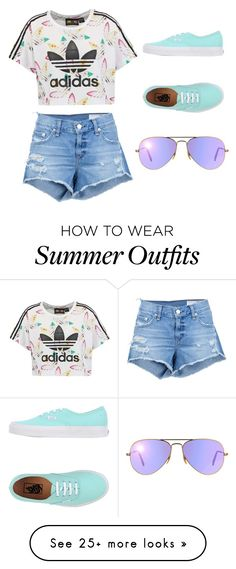 """Summer outfit"" by jaycesee on Polyvore featuring adidas Originals, rag & bone/JEAN, Vans and Ray-Ban"