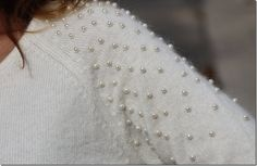 pearls on sweater