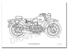 MOTO GUZZI AIRONE 250 1939 Original Handmade Drawing by drawspots, $42.00