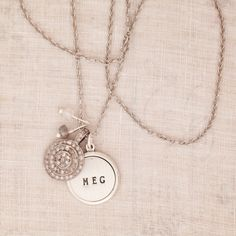 Vintage Hand Stamped Necklace with Diamond Charm - Three Sisters Jewelry Design  I want one of her pieces.....which one????