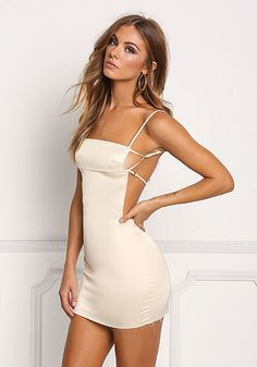 Cream Silky Strappy Open Back Bodycon Dress Love this outfit: CollectiveStyles.com ♥ Fashion   Women apparel   Women's Clothes   Dresses   Outfits   Rompers   PlaySuits   Boohoo   Express   Off The Shoulder   #clothes #maxi #fashion #dresses #women #tops