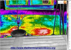 Thermographie d'un mur avec isolant mince réfléchissant Thermography of a thin reflective insulation through a wall with a heater