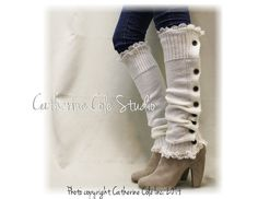 Button down cream Leg warmers for boots by LaceBootSocksbyCCole