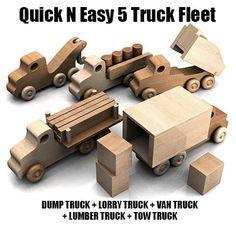 Quick N Easy 5 Truck Fleet Wood Toys Plan Set