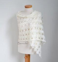 Off-White lace crochet shawl stole, M159 | Berniolie - Accessories on ArtFire