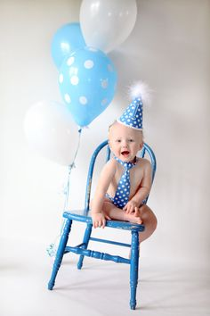 Baby boy / Toddler Necktie Party Hat & Diaper Cover First Birthday Photo Cake Smash Outfit in Blue with White Polka Dots.  I just ordered this for Liam's cake smash!