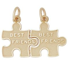 Best Friends Charm $35 Share the other piece of this puzzle with your other piece that you can't be without.  http://www.charmnjewelry.com/gold-charms.htm  #GoldCharm
