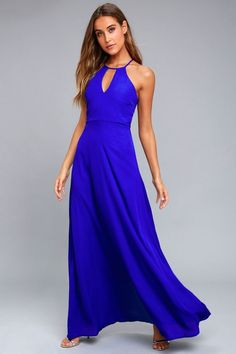 Catch everyone's attention as you glide on to the dance floor in the Beauty and Grace Royal Blue Maxi Dress! A high, halter neckline, with a keyhole cutout, tops a sleeveless bodice with a racerback. Woven poly sweeps down into a figure skimming maxi skirt. Hidden back zipper.