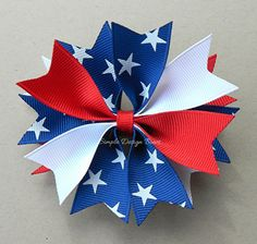 4th of July Hair Bow - Star Hair Bow - Red, White, and Blue Spike Bow by simpledesignbows