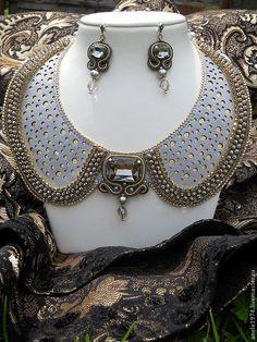 """Купить Комплект """"Подвески королевы"""" - серебряный, Украшение ручной работы, воротник, воротничок съемный"""