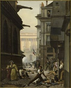 Paul Carpentier. Episode du 29 juillet 1830, rue Chilperic, face á la colonnade du Louvre (Event of 29 July 1830, rue Chilperic, before the colonnade of the Louvre) 1830
