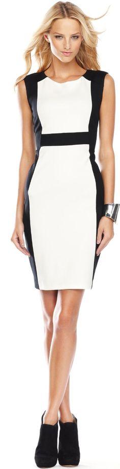 #INC International Concepts Dress, Sleeveless Colorblock Sheath