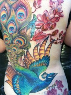 Peacock with Magnolia Back Tattoo - 55+ Peacock Tattoo Designs | Art and Design