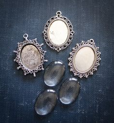 3 Vintage Oval Pendant settings and matching by ILovePaperkits, $8.95