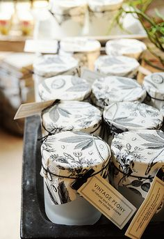 soy candles// cute packaging, looks like pots of jam! Jam Packaging, Candle Packaging, Candle Labels, Pretty Packaging, Packaging Design, Packaging Ideas, Candle Branding, Candle Jars, Tin Candles