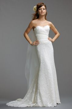 Watters Felice Gown style 5022b Lace Sweetheart neckline Draped dropped waist lace bodice Slim A-line gown Sweep Train