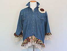 Rustic and Romantic Denim Shirt Earthy Clothing Vintage Fabric and Lace Clothes Upcycled Women's Jacket Top by Amadi Sloan Designs by AmadiSloanDesigns on Etsy