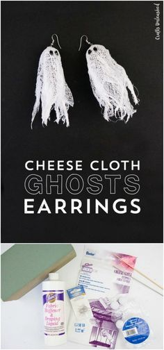 Cheesecloth Ghost Earrings: Step by Step - Consumer Crafts DIY Cheesecloth Ghosts Ohrringe Gold Bar Earrings, Moonstone Earrings, Moon Earrings, Diy Earrings, Bridal Earrings, Diy Decoupage Earrings, Diamond Earrings, Holiday Jewelry, Fall Jewelry