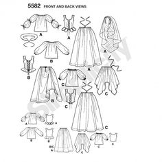 Simplicity 5582 Womens Costumes Sewing Pattern